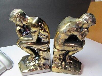 Vintage 1928 Dated Cast Metal Art Deco The Thinker Pair Bookends
