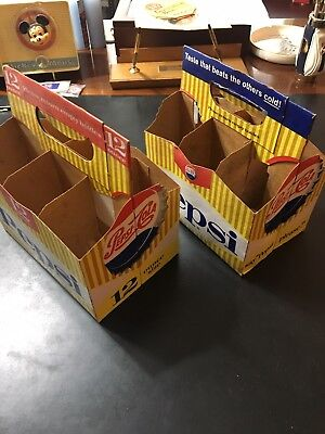 Two Different Vintage Pepsi Cola 6-Pack Cardboard Carriers