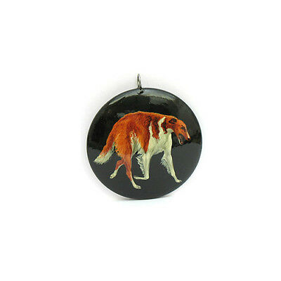 Russian Wolfhound BORZOI Hand Painted Lacquer CHRISTMAS ORNAMENT