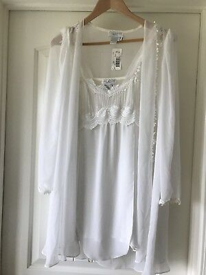 Flora Nikrooz Silk Chiffon White Bridal Chemise & Cover Up Lace & Pleats Small