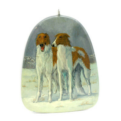 Pair Beautiful Russian Wolfhound BORZOI Hand Painted Lacquer CHRISTMAS ORNAMENT
