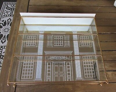 "VINTAGE FRANKLIN MINT GLASS, BRASS and MIRROR DISPLAY CASE ""GONE WITH THE WIND"""