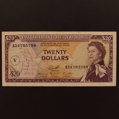 East Caribbean States 20 Dollars ND(1965) P#15o Banknote VF+