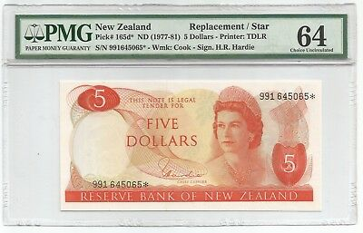 New Zealand 5 Dollars ND(1977-81) P#165d* REPLACEMENT NOTE - PMG 64 - Choice Unc
