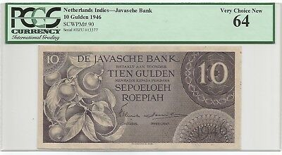 Netherlands Indies 10 Gulden 1946 P#90 Banknote PCGS 64 - Very Choice New