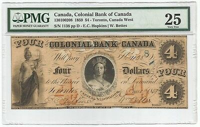 Canada - Colonial Bank of Canada 4 Dollars 1859 CH#130100208 - P#S1669 PMG 25