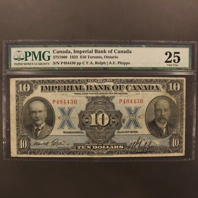Canada - Imperial Bank of Canada 10 Dollars 1923 CH#375-18-08 - P#S1143a PMG 25