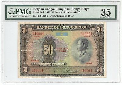 Belgian Congo 50 Francs 1946 P#16d Banknote PMG 35 - Choice Very Fine