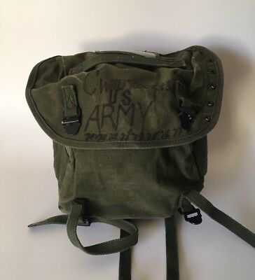 Vintage Field Pack Canvas Bag US Army Military Olive Green Backpack