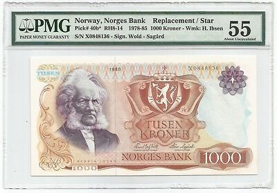 Norway 1000 Kroner 1980 P#40b* - REPLACEMENT - Banknote PMG 55 - About Unc