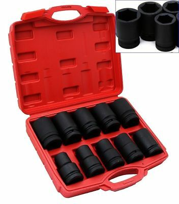 """10Pc 1"""" Inch Standard Drive Dr Large Air Black Impact Socket Wrench Tool Sae New"""