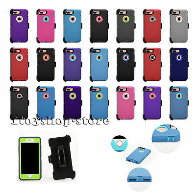 "iPhone 7 Plus or iPhone 8 Plus 5.5"" Defender Hard Shell Case w/Holster Belt Clip"