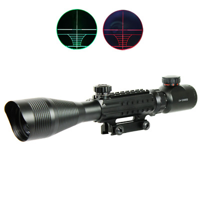 Hunting 4-12X50EG Rifle Scope Red Green Dual illuminated w/ Side Rails&Mount US