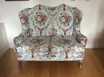 Small Antique Scalloped Sofa - elegant two seater wingback