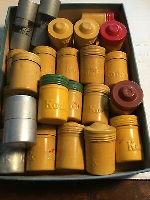 Lot of 24 metal vintage Kodak, etc., film canisters w/ Lids Diff. Colors Empty