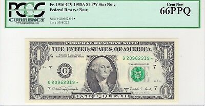 Fr. 1916-G* Star 1988A $1 FW Federal Reserve Note - PCGS Gem New 66PPQ