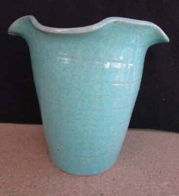 Antique Vintage American Art Pottery Vase - Hand Thrown Flared Blue Green Glaze