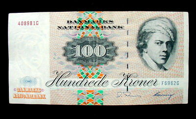 1972 DENMARK Banknote 100 kroner XF high quality