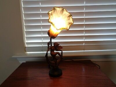 vintage art deco lady lamp, very nice rewired with cloth cord.