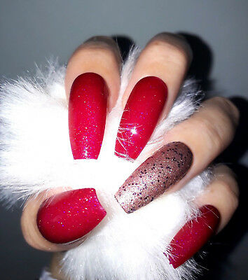 Hand Painted False Nails, Glam Raspberry, Bronze Glitter, Extra Long Coffin,