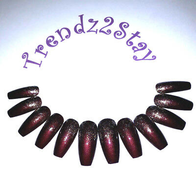 Hand Painted False Nails, Extra Long Coffin, ANY SHAPE Deep Red, Glitter Fade