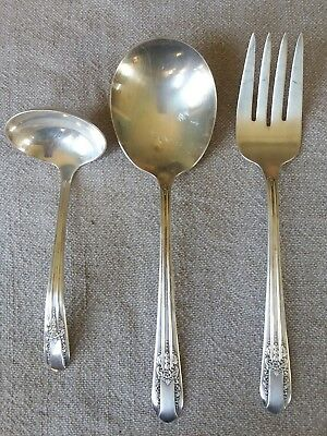 Wm Rogers 1939 REFLECTION 3 Pc Serving Set Extra Silverplate Fork Spoon Ladle