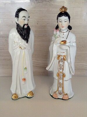 """Very Old Vintage Chinese Couple - Estate Figurines, Mid Century 8.5"""" Tall"""