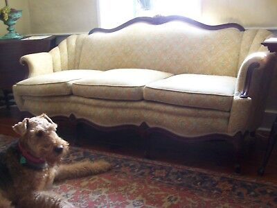 Victorian Wood  Sofa, beautifully reupholstered with high end fabric