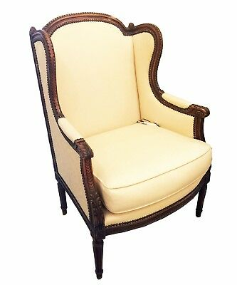Antique French Louis XVI, Wood Wing Back Bergere Armchair