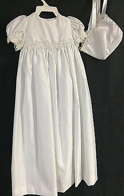 NWT Allie Wade Infant Girl Boutique Christening Gown With Bonnet Size 3 Month