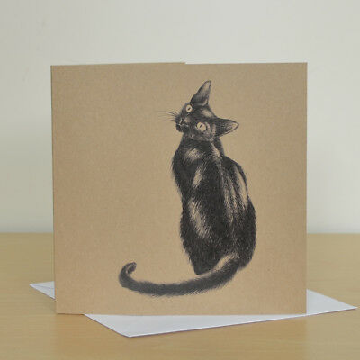 Black Cat Art Greetings Card Lovers Birthday Blank Good Luck