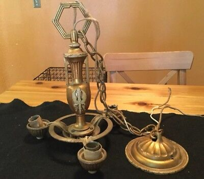 ANTIQUE VINTAGE chandelier Ceiling Light Fixture Winged Torch  Art Deco Brass