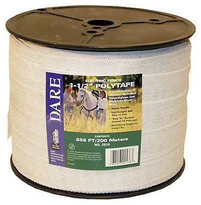 DARE PRODUCTS INC Electric Fence Tape, White Poly & 15-Wire Stainless Steel, 1.5