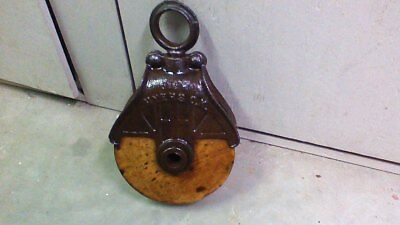 Vintage Myers OK Antique Cast Iron / Wood Barn Pulley Old Farm Primitive