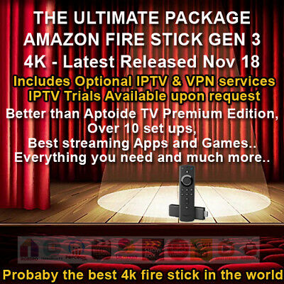 Amazon Fire TV Stick - Gen 3 4K New  ✔Movies✔Sports✔Live TV✔Kids - Premium
