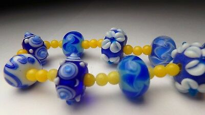 Vtg Incredible Hand Blown Art Glass Cobalt Blue Yellow Cased Crystal Necklace 17
