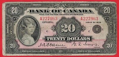 1935 $20 Bank of Canada Note Princess Elizabeth - Small Seal BC-9b - Pressed