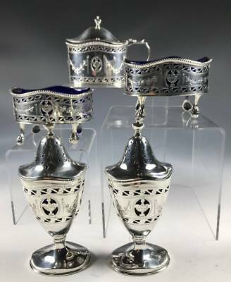JAMES ROBINSON Sterling Silver English Table Set ~ Salts ~ Peppers ~ Mustard