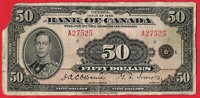 1935 $50 Bank of Canada Note English Text BC-13 - Fine+ Corner Missing - Scarce!