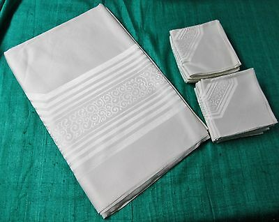 Antique Damask Tablecloth & 8 Napkins SCROLLWORK & SATIN BANDS Snow White