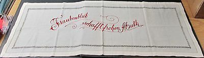 Antique Embroidered Linen Pillow Lay Over or Runner Red Motto German Drawnwork