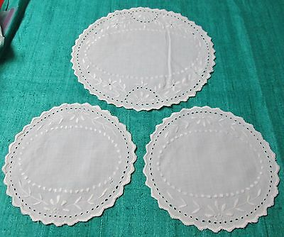 Antique 3 Rounds or Doilies Eyelet Embroidery Scalloped Edges Beautiful!