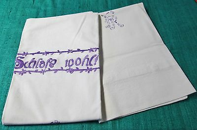 Antique Pillow Sham Pair Embroidered in Purple F R Monogram Roses & German Motto