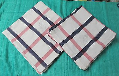 Antique French Linen Tablecloth & 10 Lapkins Ornamental Monograms Red Blue White