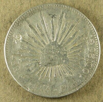 1856 or 66 MEXICO 8 REALES, .7859 OUNCE SILVER, U-GRADE, DISHED
