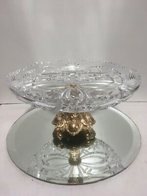 Vintage Clear Glass Crystal Compote with Metal Base Stand Fruit Bowl Candy Dish