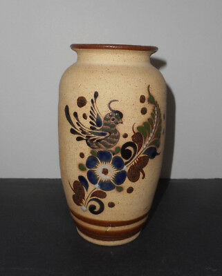 """Mexico Hand painted Mexican Tonala Sandstone Pottery Brown Blue Bird Vase 8.5"""""""
