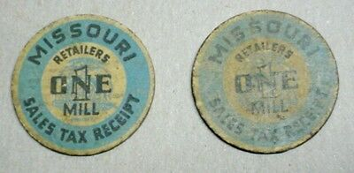 2 Early Missouri Sales Tax Token Paper Coin