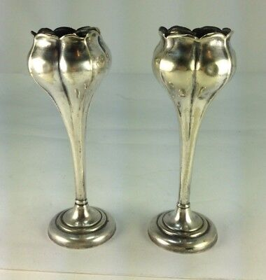 Antique Elegant Pair of Two Art Deco Sterling Silver Posey/Tulip  Shape Vases