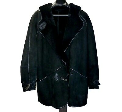 Vintage FRIITALA FINLAND Womens 6 Heavy Suede Leather Shearling Coat Jacket